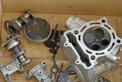 Piezas del motor de la motocicleta (visión superior) Imagenes de archivo