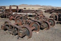 Piezas oxidadas del tren Imagenes de archivo