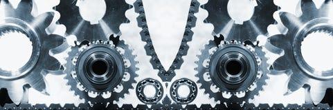 Piezas, titanio y acero de la ingeniería Fotos de archivo