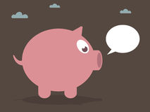 Pig. Pink pig with speech bubble ready for text Royalty Free Stock Photography