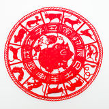 Pig. The paper cutting. The Chinese Zodiac Royalty Free Stock Image