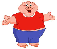 Pig. Cartoon pig raising his arms Royalty Free Stock Photography