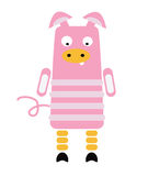 Pig. Stylized pink pig on a white background Royalty Free Stock Photos