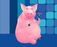 PIG. The pig drinks and has a snack royalty free illustration