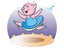 Pig. Vector Eps illustration, dancing pig Stock Photography