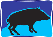 A pig. Silhouette of a pig in blue background Royalty Free Stock Image