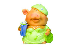 Pig. Funny piggy bank isolated on the white royalty free stock photo