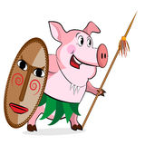Pig - aborigine with Spear Royalty Free Stock Photos