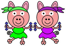 Pig aerobics Royalty Free Stock Photos