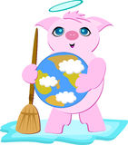 Pig Angel with Planet Earth Stock Photography