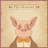 Pig animal character Royalty Free Stock Image