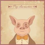 Pig animal character. Hipster pig gentlemen animal character Royalty Free Stock Image