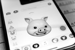 Pig animal 3d animoji emoji generated by Face ID facial  iPhone. PARIS, FRANCE - NOV 9 2017: Pig animal 3d animoji emoji generated by Face ID facial recognition Royalty Free Stock Photos