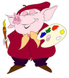 Pig-artist. Piggy painter with smile in his face Royalty Free Stock Photo