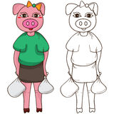 Pig auntie shopping coloring Royalty Free Stock Images