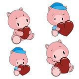 Pig baby cartoon heart set Royalty Free Stock Image