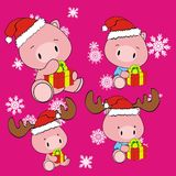 Pig baby cartoon xmas set Stock Photo