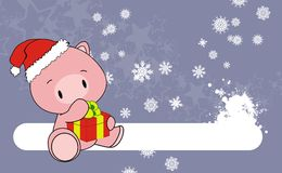 Pig baby claus cartoon background Royalty Free Stock Photos