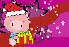 Pig baby claus cartoon xmas background Royalty Free Stock Photo