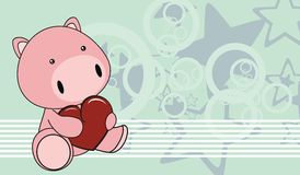 Pig baby love cartoon background Royalty Free Stock Image