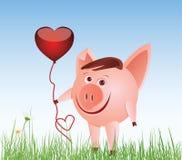 Pig with a balloon-heart Stock Photos