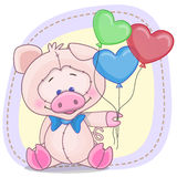Pig with balloons Stock Photography