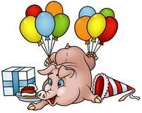 Pig with Balloons - Happy Birthday Stock Photos