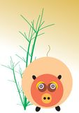 Pig and Bamboo royalty free stock images