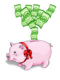 Pig bank. Money rain drooping a coin in a pig bank Stock Photo