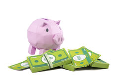 Pig bank with banknote. On white background Stock Photo