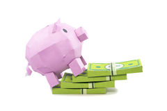 Pig bank with banknote. On white background Stock Image