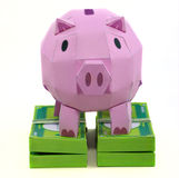 Pig bank with banknote. On white background Stock Photos