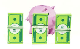 Pig bank with banknote. On white background Royalty Free Stock Image