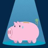 Pig bank bomb. Spotlight , cartoon pig bank Royalty Free Stock Photography