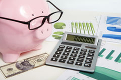 Pig bank and calculator Stock Image