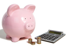 Pig bank and calculator Royalty Free Stock Images