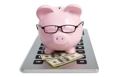Pig bank on calculator Royalty Free Stock Photo