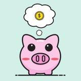 Pig bank cartoon Royalty Free Stock Images