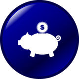 Pig bank with coin vector blue button Royalty Free Stock Photo