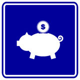 Pig bank with coin vector blue sign Royalty Free Stock Photo