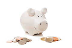 Pig bank with coins Royalty Free Stock Photography