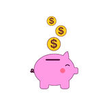 Pig bank with coins vector illustration in flat style. The concept of saving or save money or open a bank deposit. The Royalty Free Stock Image