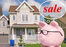 Pig bank and cottage. Pig bank and thoughts about buying a house Stock Photo