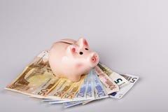Pig bank on euro banknotes Stock Photo