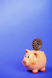 Pig bank holding gear on the back Royalty Free Stock Image