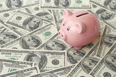Pig bank on one hundred dollar bills Royalty Free Stock Image