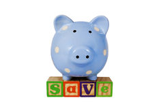 Pig Bank Save Blocks Stock Images