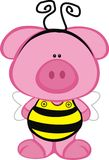 Pig in a Bee Costume vector illustration