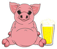 Pig and beer Royalty Free Stock Photography