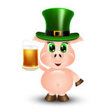 Pig With Beer Stock Photography